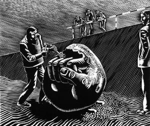 Wolfgang Mattheuer Sisyphos behaut den Stein, 1973, Holzschnitt