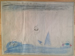 "10 year old Hassan, a boy from Syria, created this drawing in an attempt to cope with the memory of the drowning of Zainab and Hussain, his younger sister and brother, while their father tried to rescue the kids from the sinking refugee boat off Lesbos. I call Hassan's work ""The Trafficker"" - he is the bearded man sitting on top of the boat. We do not know what became of him. Hassan and his older sister Hawra managed to swim to safety and are in Germany now with their father."
